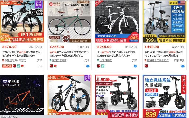 Trên trang taobao.com có rất nhiều shop bán xe đạp chất lượng